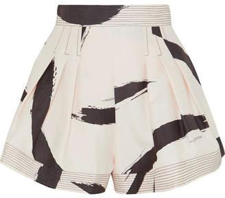 Zimmermann Pleated Printed Silk Shorts - Cream
