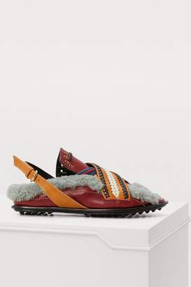 Carven Ica leather and fur sandals