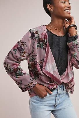 Anthropologie Burnout Velvet Kimono Jacket