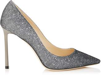 Jimmy Choo ROMY 100 Anthracite Lame Glitter Pointy Toe Pumps