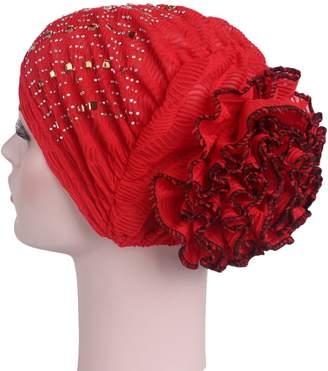 Eliffete Lace Turban Skull Cap Hair Wrap Stretch Turban Women's Head Wrap Cover