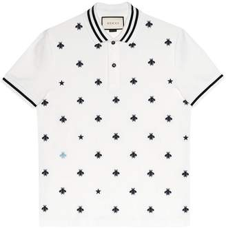 57758228f Gucci Cotton polo with bees and stars