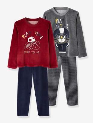 Vertbaudet Pack of 2 Velour Pyjamas for Boys, Playtime