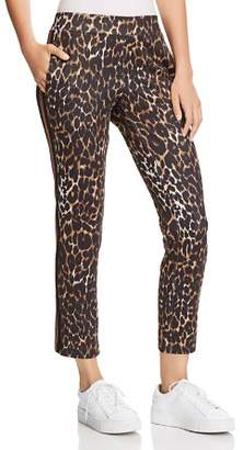 Pam & Gela Leopard Print Cropped Track Pants