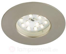 Felia - LED-Einbauleuchte IP44, nickel matt