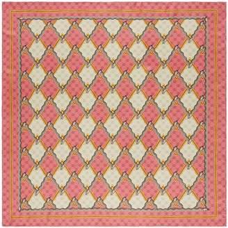 Gucci Snake Rhombus Square Silk Twill Scarf