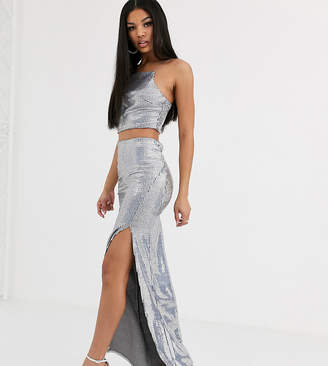Flounce London maxi skirt coord in silver