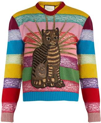 Gucci Cat-appliqué panelled lace and wool sweater