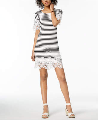 Tommy Hilfiger Striped Lace-Trim Dress, Created for Macy's