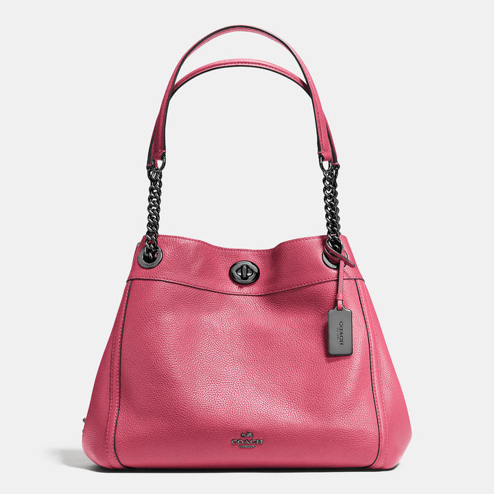 Coach   COACH Coach Turnlock Edie Shoulder Bag In Pebble Leather