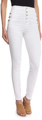 J Brand Natasha High-Waist Skinny Jeans, White