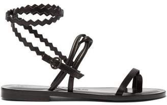 Álvaro González Anna Zigzag Strap Leather Sandals - Womens - Black