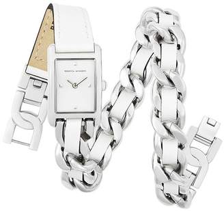 Rebecca Minkoff Moment Silver Tone Double Wrap Watch, 19X30Mm