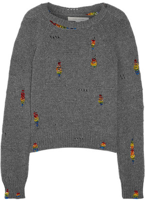 Marc Jacobs - Bead-embellished Distressed Wool And Cashmere-blend Sweater - Gray $895 thestylecure.com