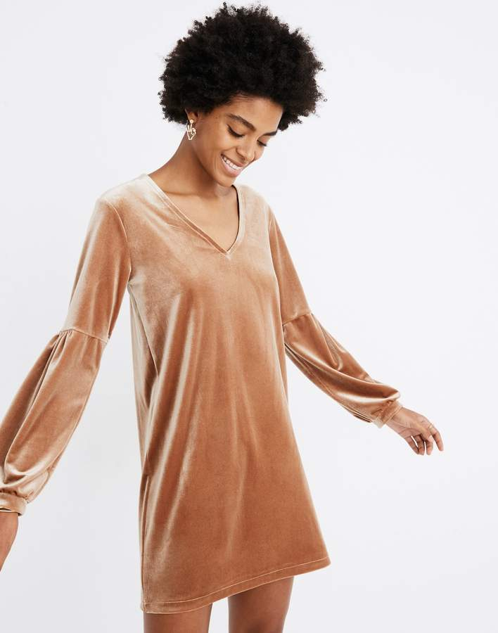 Madewell Velvet Balloon-Sleeve Dress