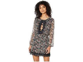 Roxy Side of Motion Printed Long Sleeve Lace Dress