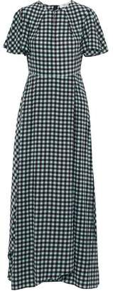 Diane von Furstenberg Cutout Gingham Silk Maxi Dress