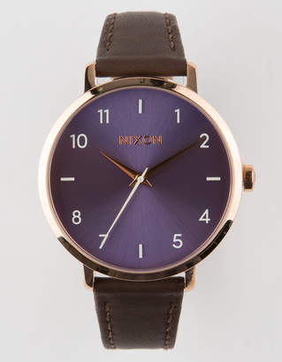 Nixon Arrow Leather Chocolate Lavender & Rose Watch