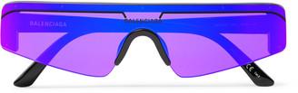 Balenciaga Ski Rectangle-Frame Enamelled Acetate Sunglasses - Men - Black