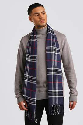 BoohoomanBoohooMAN Mens Navy Check Knitted Tassel Scarf, Navy
