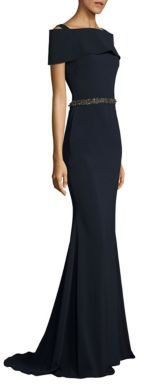 Badgley Mischka Beaded Off-The-Shoulder Gown $795 thestylecure.com