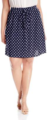 Star Vixen Women's Plus-Size Knee-Length Full Skater Skirt with Self-Tie Bow Belt