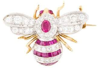 18K Diamond & Ruby Bee Brooch