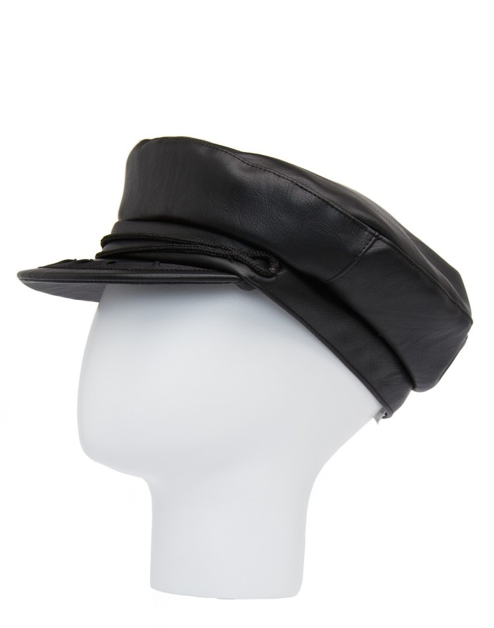 Leather effect visor cap