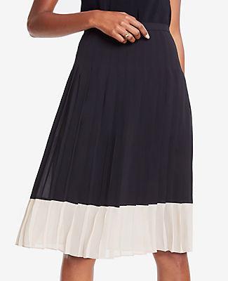 Ann Taylor Petite Colorblock Pleated Skirt