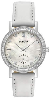 Bulova Analog Swarovski Crystal Pave Bezel Leather Strap Watch
