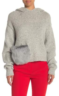 Tibi Genuine Alpaca Fur Pocket Hooded Sweater
