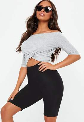 Missguided Gray Bardot Knotted Front Crop Top