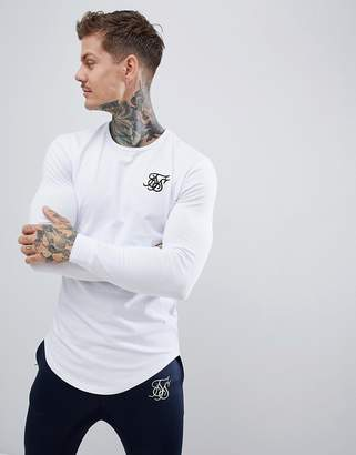 SikSilk long sleeve t-shirt in white