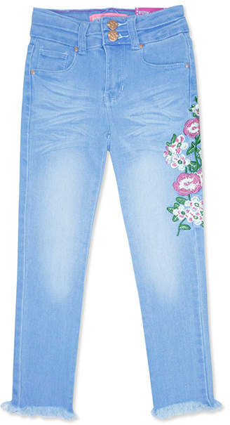 Super Ice Blue Floral Embroidery Straight-Leg Jeans - Girls