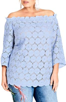 City Chic Swiss Affair Lace Off the Shoulder Top