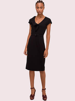 Kate Spade Ruffle Matte Crepe Dress, Black - Size 0