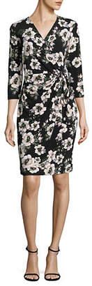 INC International Concepts Petite Floral Crepe Faux Wrap Dress