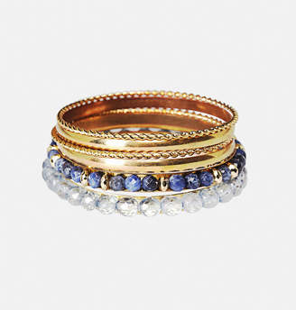 Avenue Blue Bead Bangle Set