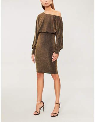 Forever Unique Off-the-shoulder metallic-knit dress