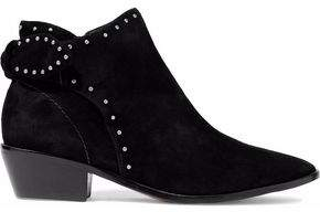 Schutz Knotted Studded Suede Ankle Boots