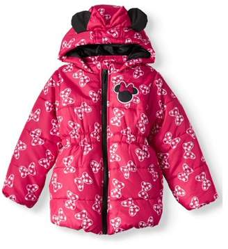 Little Girls' Minnie Mouse Puffer Coat With 3D Bow and Ears