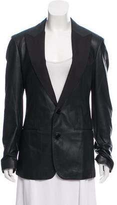 Dolce & Gabbana Leather Peak-Lapel Blazer w/ Tags