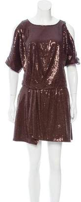 Jay Godfrey Sequin Cold-Shoulder Mini Dress