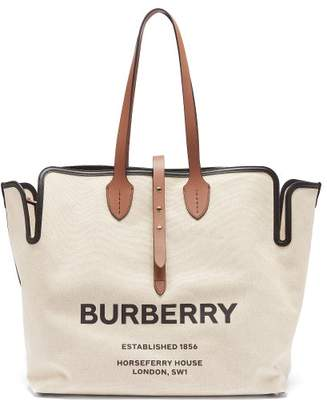 Burberry Logo Print Canvas Tote Bag - Womens - Tan Multi