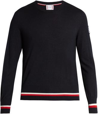 MONCLER GAMME BLEU Crew-neck cashmere-blend sweater $670 thestylecure.com