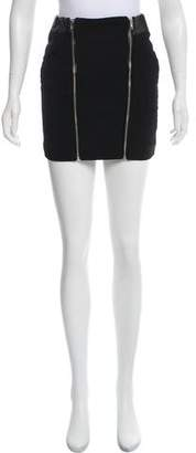 The Kooples Leather-Trimmed Wool Skirt