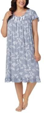 Eileen West Plus Size Waltz Lace Trim Floral-Print Nightgown