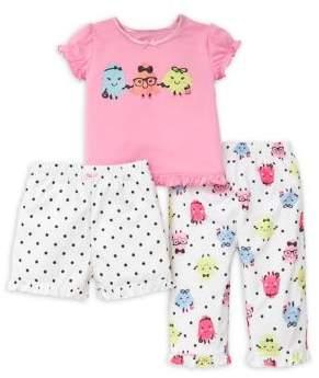 Little Me Baby Girl's Three-Piece Monster Pajama Set