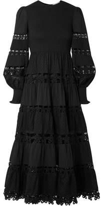 Zimmermann Primrose Daisy Smocked Crochet-trimmed Fil Coupé Cotton-voile Midi Dress - Black