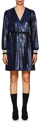 Robert Rodriguez WOMEN'S STRIPED-CUFF BELTED SEQUIN DRESS - BLUE SIZE M